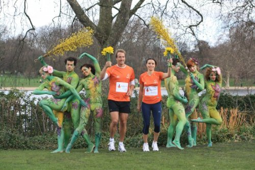 Royal Parks half marathon launch photo with Ben Fogal and Tana Ramsey