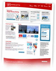 Virgin Money Giving homepage