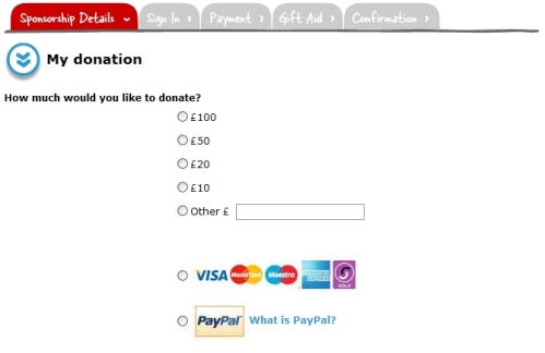 Paypal Donations on Virgin Money Giving