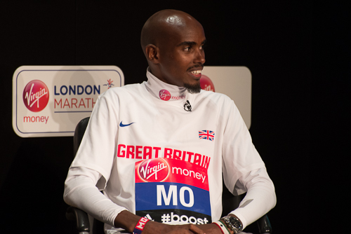 Mo Farah on stage for the Virgin Money London Marathon press conference