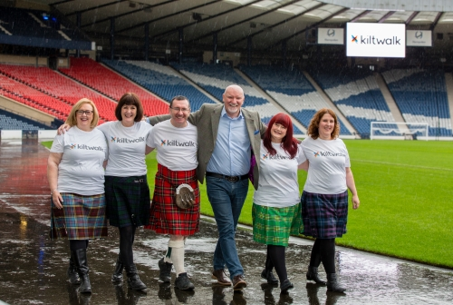 Launch of Kiltwalk 2016 at Hampden Park Pictured Sir Tom Hunter with Kilties l to r Marion Robinson , Moira Burke , Christopher Quinn , Sir Tom Hunter , Izzy Conway , Lesley Sharp She had open heart surgery at Yorkhill hospital. Yorkhill are one of the charities involved in this years walk. For more details contact Gregor Hollerin 0781 3320162 at Big Partnership Photograph by Martin Shields Tel 07572 457000 www.martinshields.com FEE PAYABLE FOR REPRO USE NB -This image is not to be distributed without the prior consent of the copyright holder. in using this image you agree to abide by terms and conditions as stated in this caption. All monies payable to Martin Shields (PLEASE DO NOT REMOVE THIS CAPTION) This image is intended for Editorial use (e.g. news). Any commercial or promotional use requires additional clearance. Copyright 2015 All rights protected. first use only.